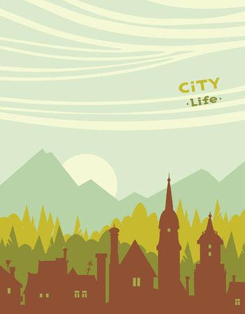 green city: silhouette of city and green forest