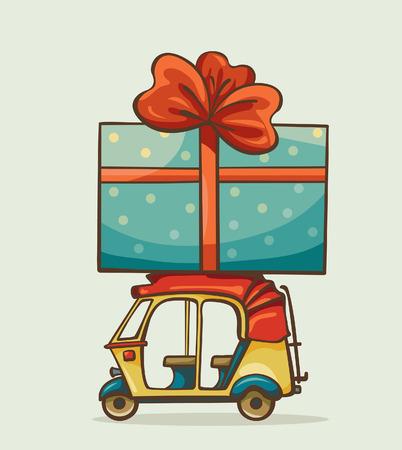 cartoon present: Cartoon yellow auto rickshaw with big blue present box. Vector celebration image.