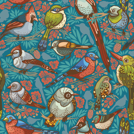 Seamless pattern with colored birds on a blue background. Vector illustration.