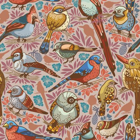 brawn: Seamless pattern with colored birds on a autumn background. Vector illustration.