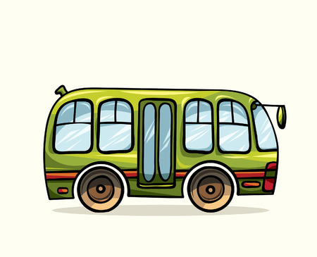 public transportation: Cartoon green bus on a white background. Vector illustration of public transport.