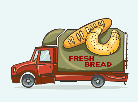 pain frais: Vector illustration of cartoon green truck - delivery fresh bread and baguettes.