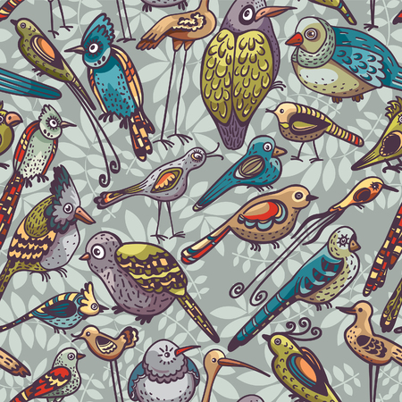 aves caricatura: Patrón sin fisuras con las aves de dibujos animados divertidos. Papel pintado infantil.