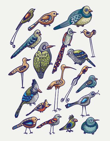 blue heron: Set of cartoon funny birds on a white background. Vector childish illustration. Illustration