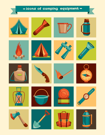 camping equipment: Collection of hiking icons - vector camping equipment.