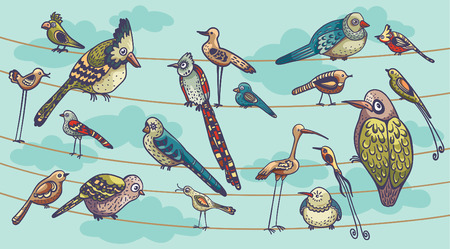 Funny birds sitting on a wire like a family. Set of childish birds. Cartoon vector illustration.