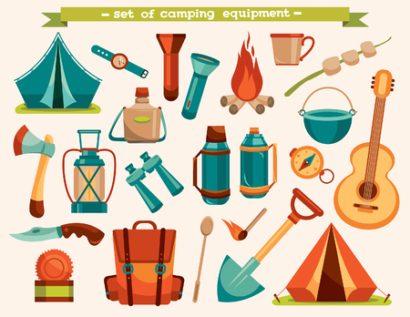 Set of camping equipment - tent, backpack, knife, flashlight and other. Vector tourism illustration.