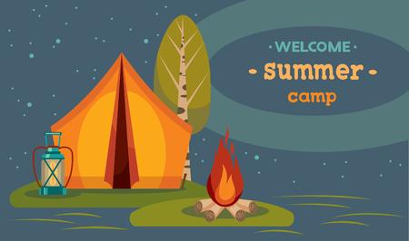 Camping turistico verano. Ilustración del vector con carpa roja y capmfire en un cielo nocturno estrellado.