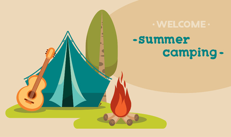 Vector illustration with blue tent, guitar and campfire on a green grass. Summer tourist camping. 向量圖像