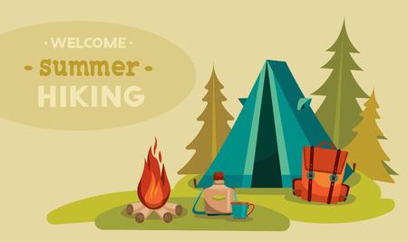campamento: Senderismo turismo verano. Ilustración vectorial con la tienda azul, mochila roja y fogata en una hierba verde.