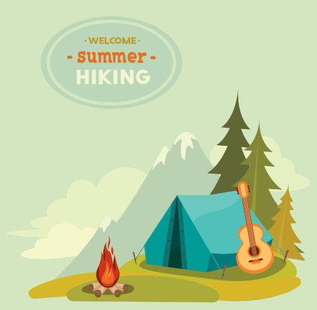 Summer hiking - vector illustration with blue tent, guitar and campfire on a green grass on mountain background.