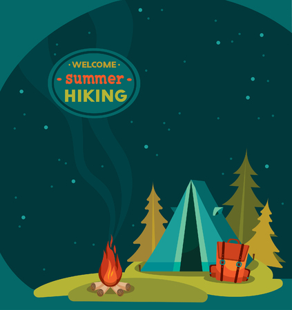 camping: Summer hiking - vector illustration with blue tent, backpack and campfire on a night starry sky background.