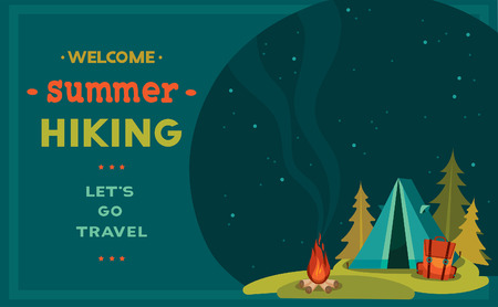 camping: Vector illustration with blue tent, backpack and campfire on a night starry sky. Summer hiking.