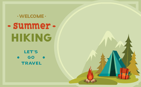 camping: Summer hiking - vector illustration with blue tent, backpack and campfire on a green grass and mountain background.