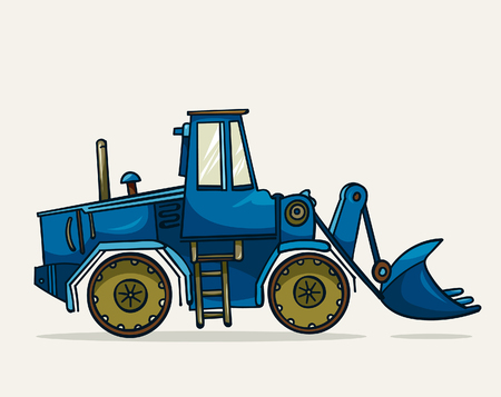 heavy construction: Cartoon blue heavy construction machine. Vector illustration of heavy equipment and machinery.