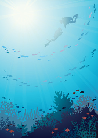 diver: Coral reef with school of fish and silhouette of two divers on a blue sea background, Vector underwater illustration.