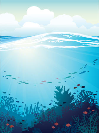reef: Coral reef with school of fish and white waves on a blue sea background. Vector underwater illustration.