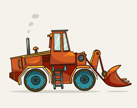 construction machinery: Cartoon heavy construction machine on a white background. Vector illustration of heavy equipment and machinery. Illustration