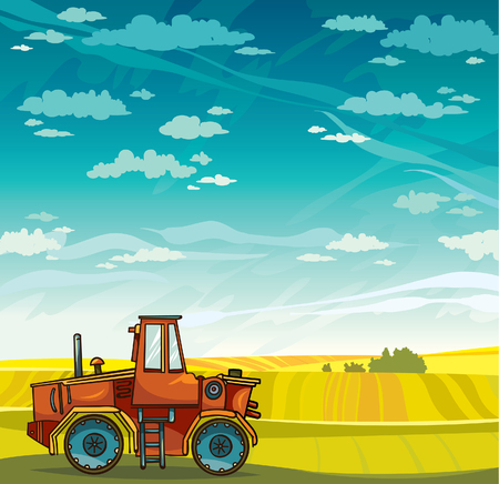 farmer sign: Red cartoon tractor and green field on a blue sky with clouds. Vector rural landscape.