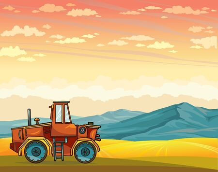 cloudy: Cartoon red tractor and yellow field on a sunset cloudy sky. Vector summer rural landscape.
