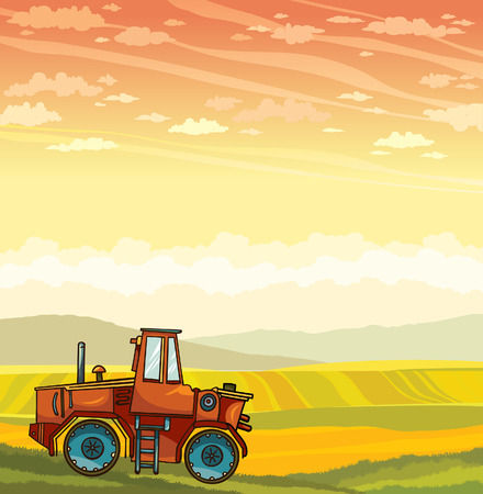 cartoon tractor: Red cartoon tractor and green field on a blue sky with clouds. Vector summer rural landscape.