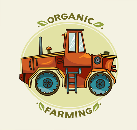 heavy vehicle: Cartoon farming and organic illustration - red vector tractor.