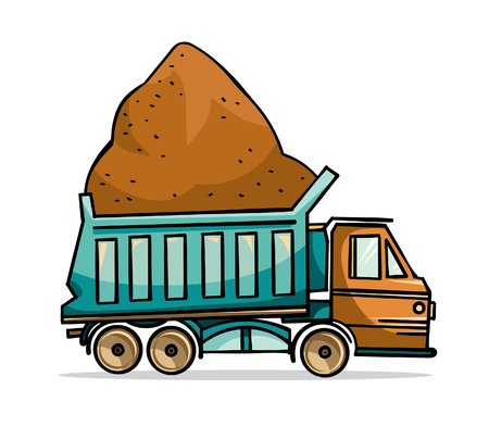 sand: Cartoon truck with building sand on a white background. Illustration