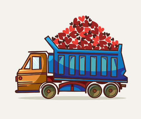 construction machinery: Cartoon blue truck and wagon with hearts on a white background. Vector illustration of heavy equipment and machinery.