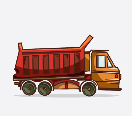 heavy equipment: Cartoon red truck on a white background. Vector illustration of heavy equipment and machinery.