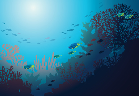 seascape: Underwater coral reef and school of fish. Vector seacape illustration.