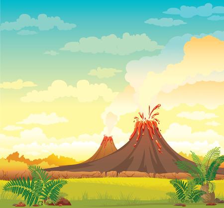 Paisaje prehistórico con volcanes humeantes y la hierba verde en un cielo nublado azul. Vector naturaleza ilustración. Ilustración de vector