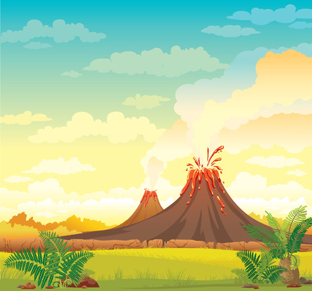 Prehistoric landscape with smoky volcanoes and green grass on a blue cloudy sky. Vector nature illustration.