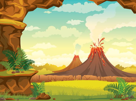 Vector natural illustration - prehistoric lanscape with cave, smoky volcanoes and green grass on a cloudy sky. Ilustração