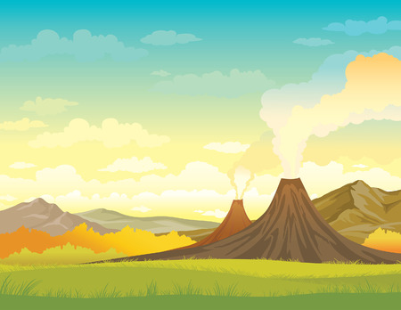 Nature vector illustration - smoky volcanoes, mountains and green grass on a blue cloudy sky. Summer landscape.