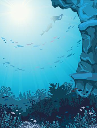 arrecife: Dos buzos y los arrecifes de coral en la escuela de peces en un paisaje marino azul. Ilustración vectorial Subacuático.