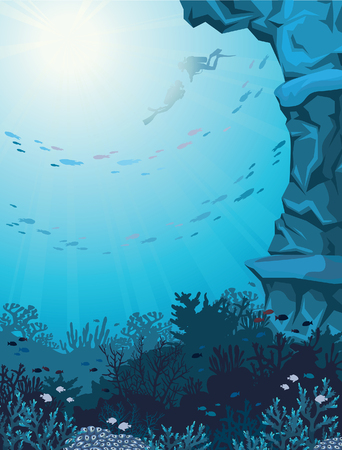 underwater: Two scuba divers and coral reef with school of fish on a blue seascape. Underwater vector illustration.