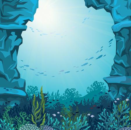 cueva submarina y los arrecifes de coral con la silueta de los peces en un fondo azul del mar. Ilustración de la naturaleza del vector.