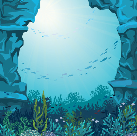 Underwater cave and coral reef with silhouette of fish on a blue sea background. Nature vector illustration.