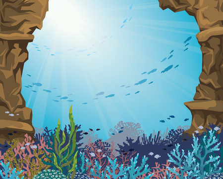seascape: Sea cave and colorful coral reef with silhouette of fish on a blue background. Underwater sea world. Vector seascape illustration.
