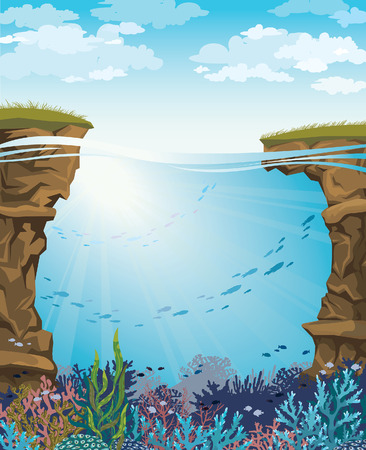 under water grass: Coral reef with underwater creatures and green grass on a blue cloudy sky. Vector seascape illustration. Illustration