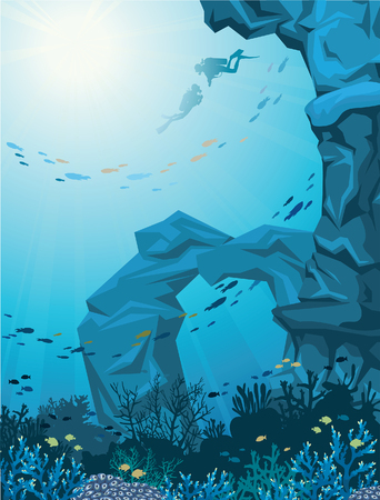 reef: Underwater vector illustration - coral reef with school of fish, sea cave and two scuba divers. Natural seascape.