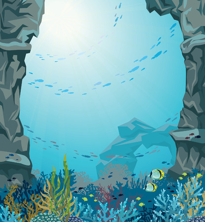 reef: Underwater sea cave and coral reef with school of fish on a blue background. Nature vector seascape.