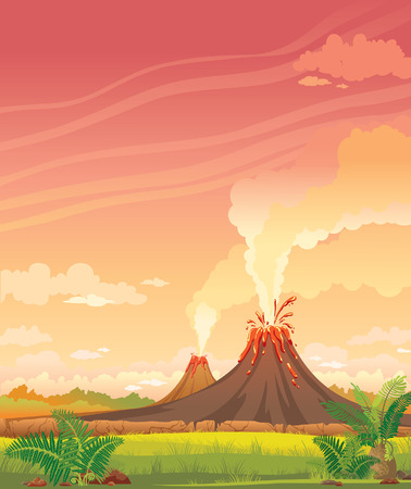 Prehistoric landscape with smoky volcanoes and green grass on a pink cloudy sky. Vectores