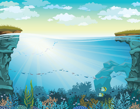 Cloudy sky above coral reef with school of fish and underwater cave. Vector seascape illustration.