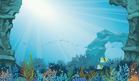 corales marinos: Filón coralino con la escuela de pescados y arco bajo el agua sobre un fondo azul del mar. Submarino marino ilustración vectorial.