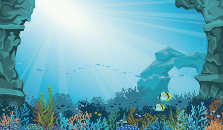 Coral reef with school of fish and underwater arch on a blue sea background. Underwater seascape vector illustration.
