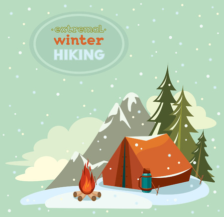 extremal: Red tent with thermos and fire on a snowy sky background - Extremal winter hiking, Vector adventure landscape. Illustration