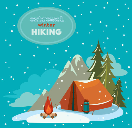 extremal: Extremal winter hiking - red tent and fire on a snowy sky. Vector adventure illustration.
