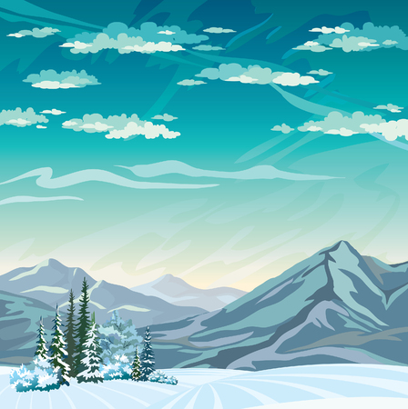 snowy hill: Frozen forest and mountains on a blue sky. Winter vector landscape. Illustration