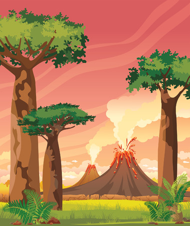 pink sky: Prehistoric landscape with two smoky volcanoes and green baobabs on a pink sunset sky. Summer vector illustration.